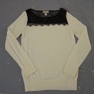 LOFT white and black sweater